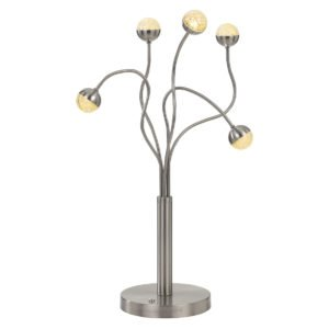 Mindel 5 Light 2.5 Watt LED Table Lamp in Nickel