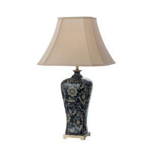 Nashi 400mm Table Lamp in Antique Brass and Dark Blue Base with Taupe Shade