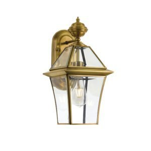 Rye Small IP44 Exterior Wall Light in Antique Brass