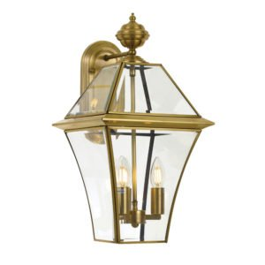 Rye Large IP44 Exterior Wall Light in Antique Brass