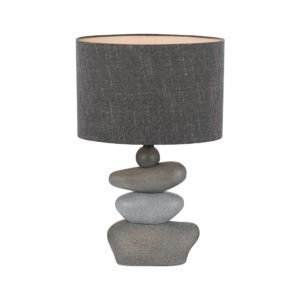 Sandy Table Lamp in Stone with Grey Linen Shade