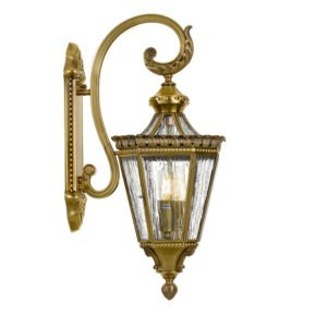Scroll Solid Brass Exterior Wall Light in Antique Brass