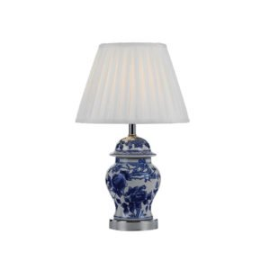 Ling Table Lamp in White and Blue with White Shade