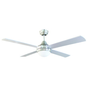Tempo II 48'' Ceiling Fan with 2 x E27 Light in Brushed Chrome with Silver Blades
