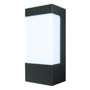 Eave Rectangular Open-Faced Wall Light in Charcoal