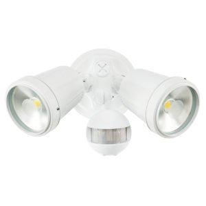 Hunter III 2 Light LED Floodlight with Sensor in White