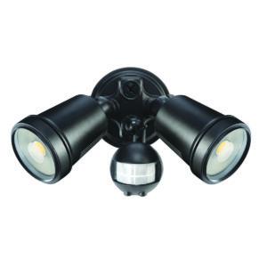 Hunter III 2 Light LED Floodlight with Sensor in Black