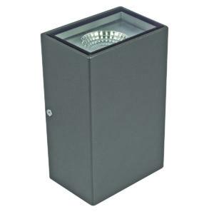 Vernier II LED Rectangular Up/Down Wall Light in Charcoal