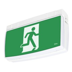 One-Box 2W Exit Sign with 1W Emergency Downlight in White
