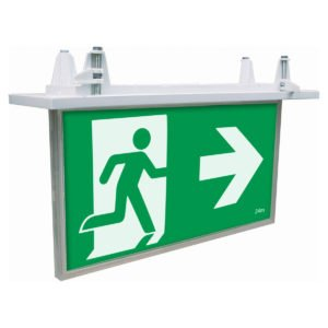 Blade Recessed 2W Exit Sign with 1W Emergency Downlight in White