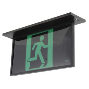 Blade Recessed 2W Exit Sign with 1W Emergency Downlight in Black