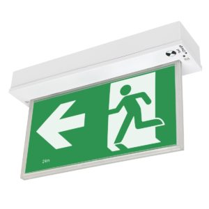 Blade Surface Mount 2W Exit Sign with 1W Emergency Downlight in White