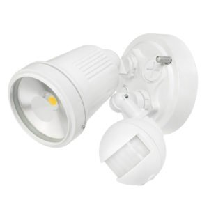 Hunter III 1 Light LED Floodlight with Sensor in White