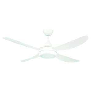 Vector 52'' ABS Ceiling Fan with LED Light in White with White Blades