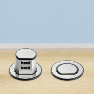 Dual Pop-Up USB Charger in Satin Nickel
