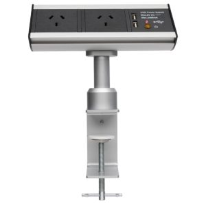 Power Station Desktop Power Solution with USB & Clamp in Silver