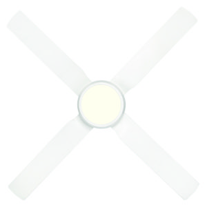 Cruze 52'' ABS Ceiling Fan with LED Light in White with White Blades