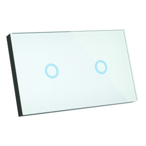 Elite Glass Wall Switch 2 Gang in White