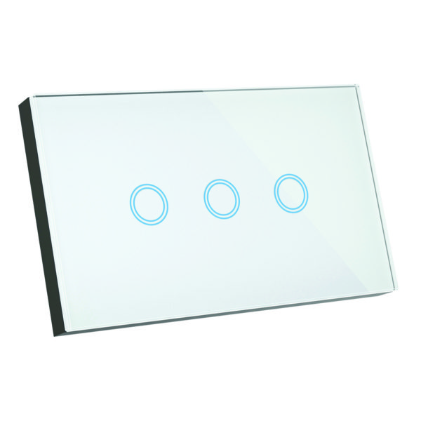 Elite Glass Wall Switch 3 Gang in White