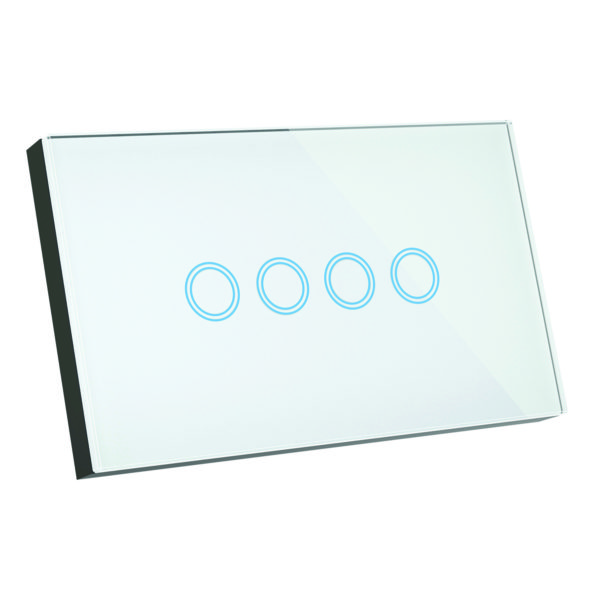 Elite Glass Wall Switch 4 Gang in White