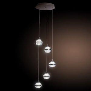 POD 5 Light Cool White LED Pendant Light in Chrome with Glass