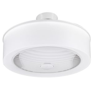 Manhattan 570mm Enclosed Ceiling Fan with 4000K 360° Light Diffuser in White Grille