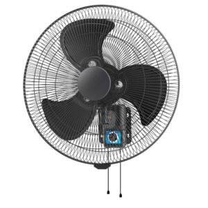 45cm Matt Black Heavy Duty Wall Fan With Pull Cord