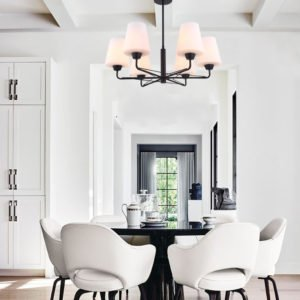 Abbey 6 Light Pendant Light in Matt Black with Opal Glass
