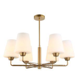 Abbey 6 Light Pendant Light in Matt Gold with Opal Glass