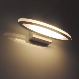 Athens 6 Watt LED Internal Oval Shaped Wall Light in Matt White