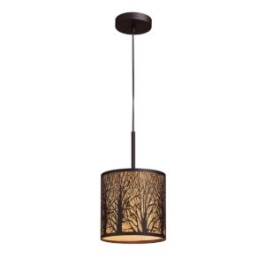 Autumn Small 1 Light Pendant Light in Aged Bronze with Amber Lining