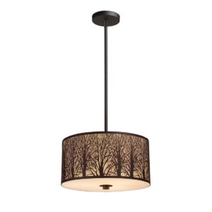 Autumn Large 1 Light Pendant Light in Aged Bronze with Amber Lining