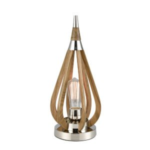 Bonito Table Lamp in Polished Nickel and Taupe Wood