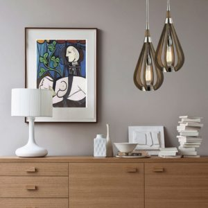 Bonito Small 1 Light Pendant Light in Taupe Wood