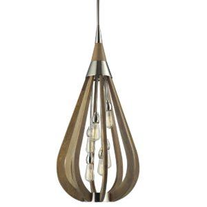 Bonito Large 6 Light Pendant Light in Taupe Wood