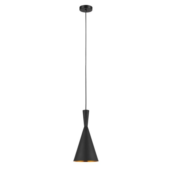 Caviar 1 Light Cone Shaped Pendant Light In Black With Gold Dimpled Internal Lighting Empire