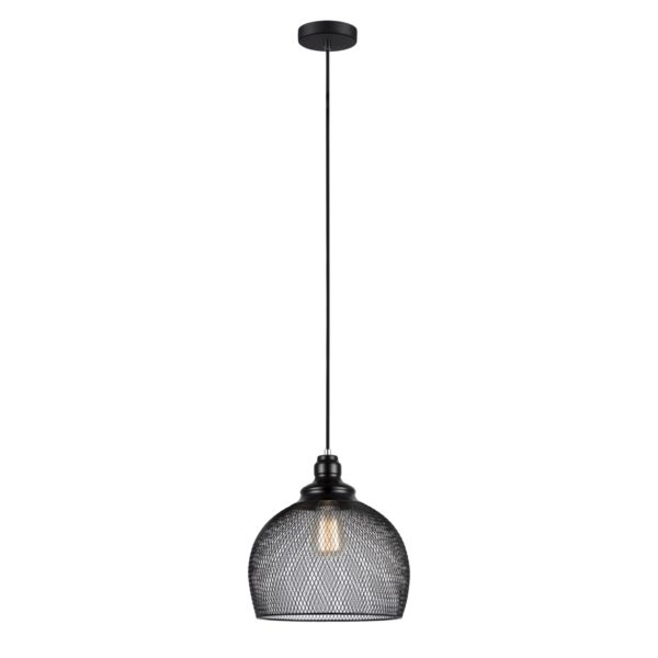 Cheveux 1 Light Large Wine Glass Shaped Pendant Light in Black Mesh Bird Cage