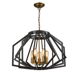 Gamba 5 Light Pendant Light in Antique Brass and Oiled Bronze