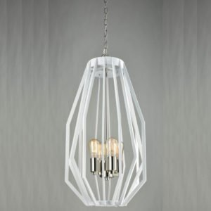 Gamba 4 Light Pendant Light in White and Polished Nickel
