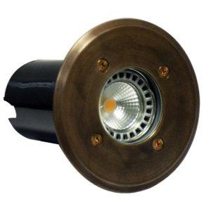 IP67 120mm Faceplate MR16 12v Recessed Round In-Ground Up Light in Brass