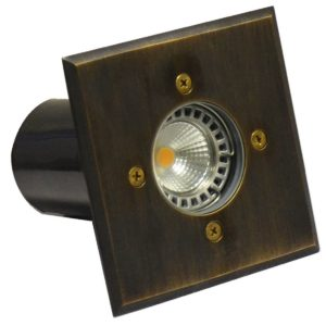 IP67 120mm Face plate MR16 12v Recessed Square In-Ground Up Light in Brass