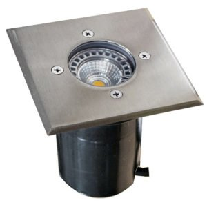 IP67 120mm Face plate MR16 12v Recessed Square In-Ground Up Light in 316 Stainless Steel