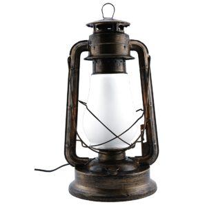 Replica Kerosine Table Lamp in Bronze including LED Globe that imitates Flame Look