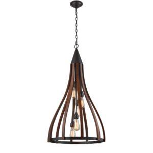 Khaleesi Large 1 Light Pendant Light in Dark Red Oak Wood