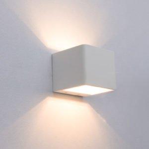 London 6 Watt LED Internal Cube Shaped Up and Down Wall Light in Matt White