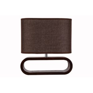 Lotus Table Lamp in Dark Wood with Brown Cloth Shade
