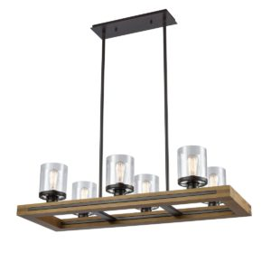 Meti 6 Light Pendant Light in Chestnut Wood with Clear Glass