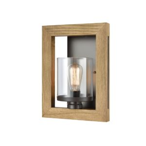 Meti 1 Light Wall Light in Chestnut Wood with Clear Glass