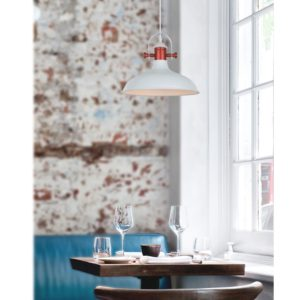 Narvik Light Pendant Light in Matt White with Copper Plating