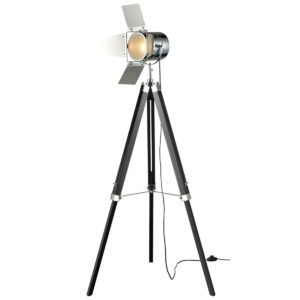 Navegar Tripod Floor Lamp in Black and Chrome